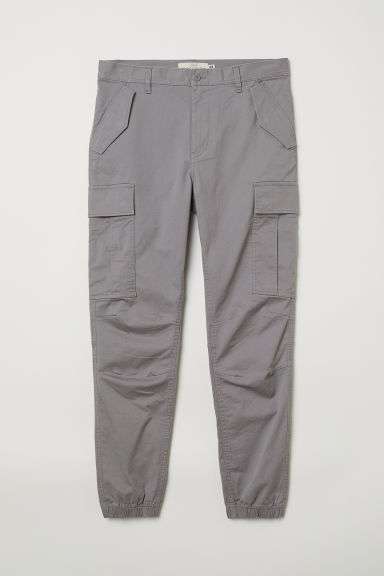 Cotton twill cargo joggers - Grey - Men | H&M CN