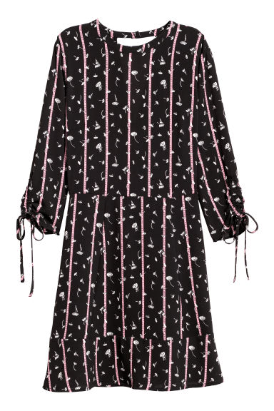 Crêpe dress - Black/Flowers -  | H&M CN