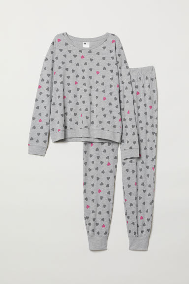 Pyjamas - Grey marl/Hearts - Ladies | H&M CN