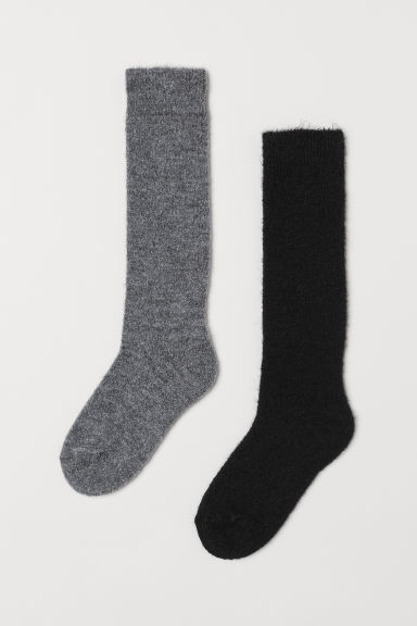 2-pack mohair-blend knee socks - Black/Grey -  | H&M