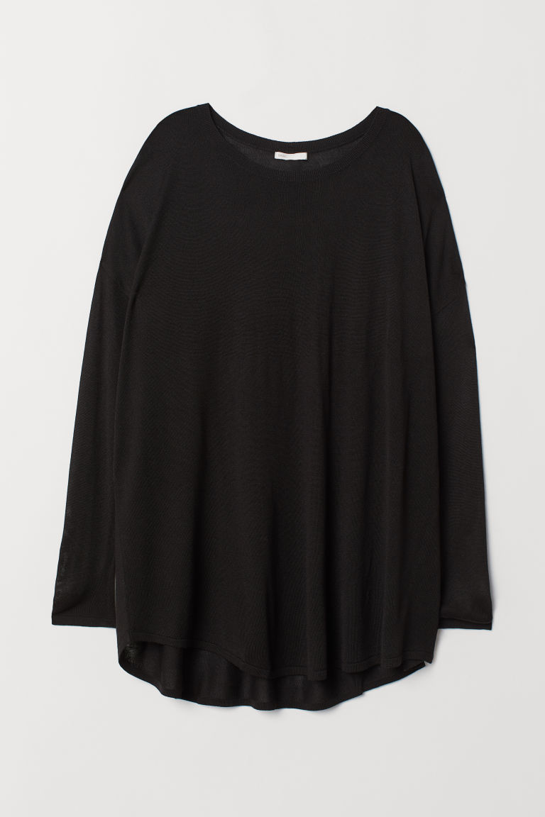 Fine-knit jumper - Black - Ladies | H&M CN