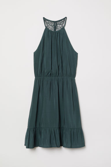 Dress with a lace back - Dark green - Ladies | H&M