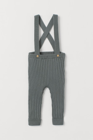 Rib-knit Pants with Suspenders
