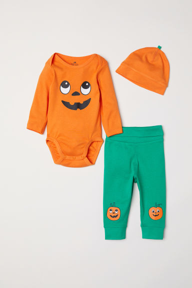 3-piece jersey set - Orange/Pumpkin - Kids | H&M