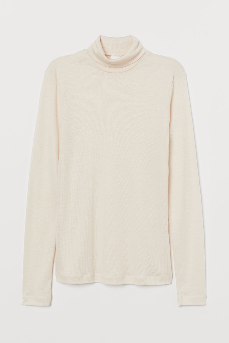 Lyocell polo-neck top - Light powder beige - Ladies | H&M