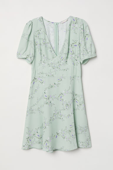 Crêpe dress - Light green/Floral - Ladies | H&M CN