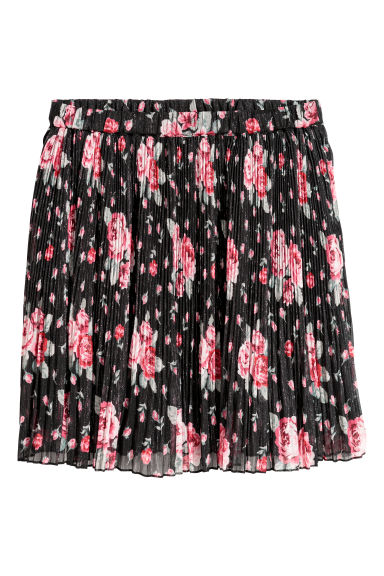 Pleated skirt - Black/Roses - Ladies | H&M