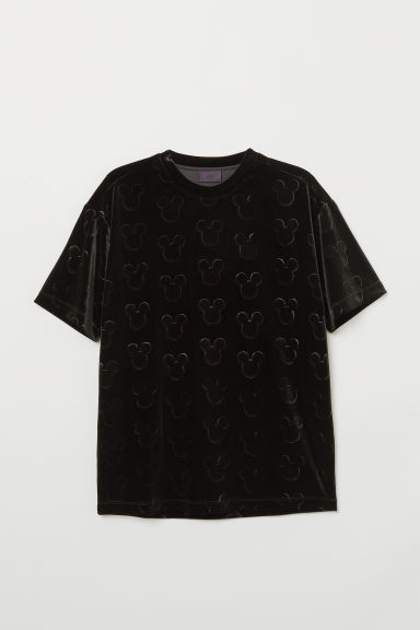 Velour T-shirt - Black/Mickey Mouse - Men | H&M CN