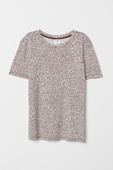 T-shirt with a motif - Light beige/Patterned - Ladies | H&M