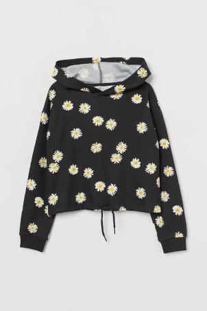 Boxy hooded top