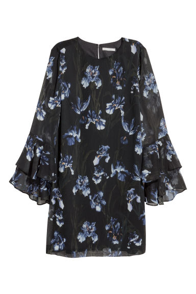 Flounce-sleeved dress - Black/Floral - Ladies | H&M