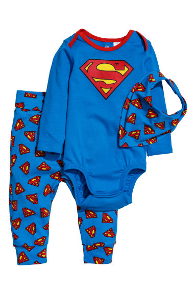 3-piece jersey set - Blue/Superman -  | H&M