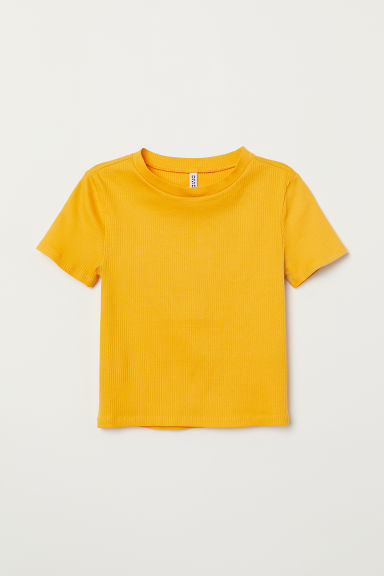Ribbed top - Dark yellow - Ladies | H&M