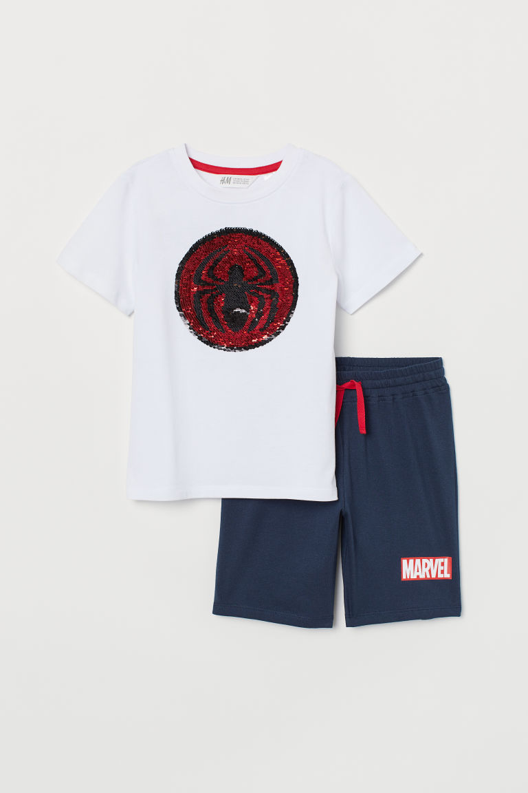 Set with reversible sequins - White/Marvel - Kids | H&M IN