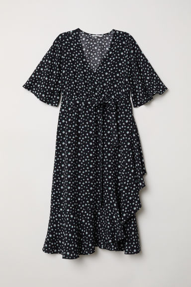 MAMA Wrap dress - Black/Floral -  | H&M CN