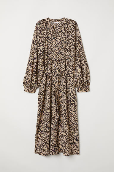 Balloon-sleeved dress - Beige/Leopard print - Ladies | H&M GB