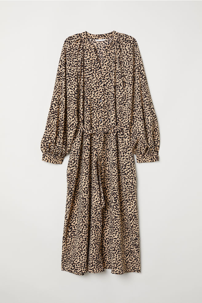 0576c8fd4141 Kleid mit Ballonärmeln - Beige Leopardenmuster - Ladies   H M ...