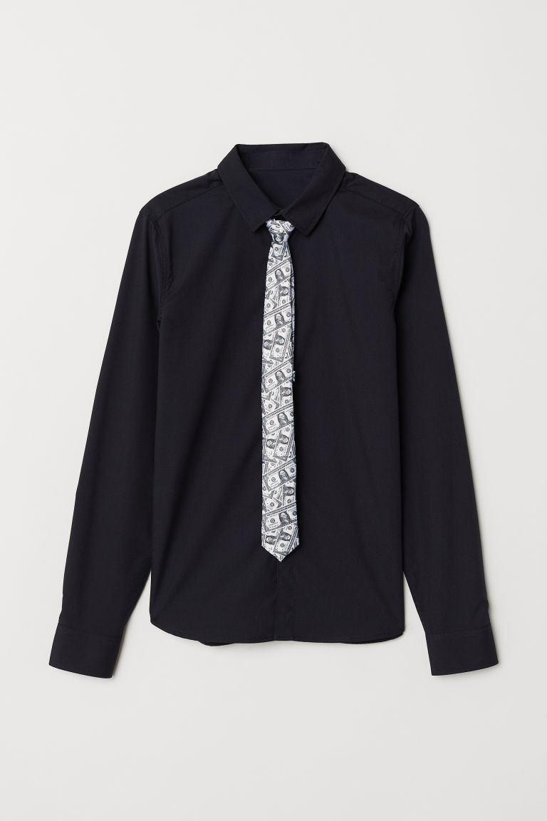 Shirt with a tie/bow tie - Black/Tie with notes - Kids | H&M