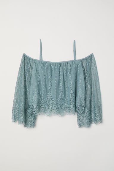 Off-the-shoulder lace blouse - Grey-green -  | H&M CN