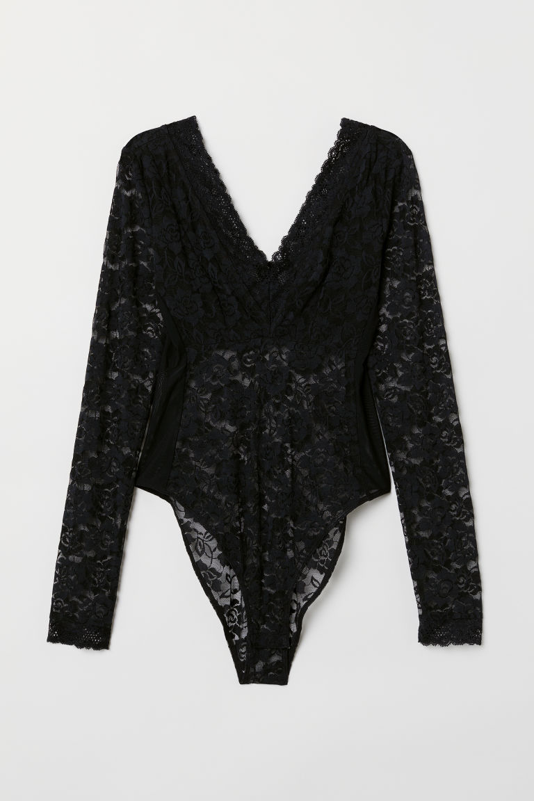 Long-sleeved lace body - Black -  | H&M GB