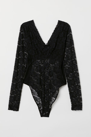 Long-sleeved Lace Bodysuit
