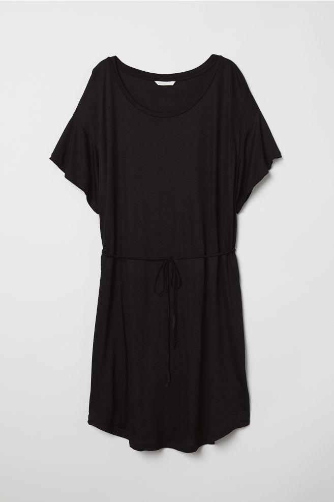 b7bd26ddd0 T-shirt dress with a tie belt - Black - Ladies