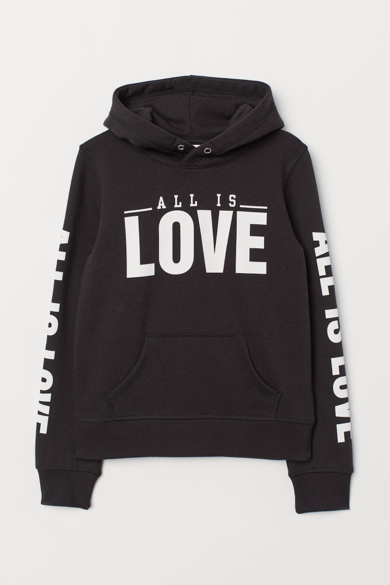 Hooded top with a motif - Black/All Is Love - Kids | H&M CN