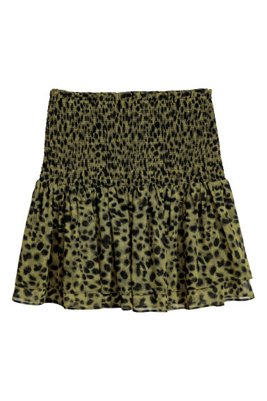Skirt with smocking - Green/Leopard print - Ladies | H&M CN
