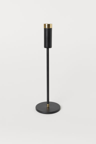 Tall candlestick - Black/Gold-coloured - Home All | H&M GB