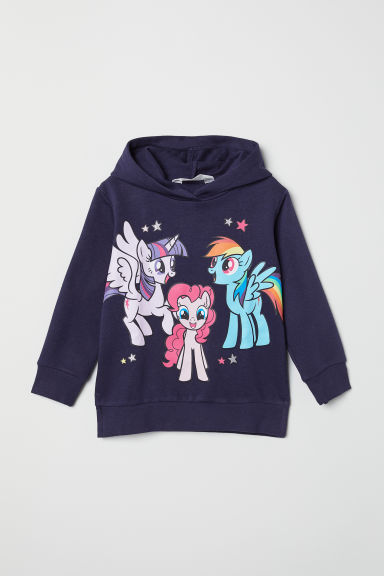 Hooded top with motifs - Dark blue/My Little Pony - Kids | H&M CN