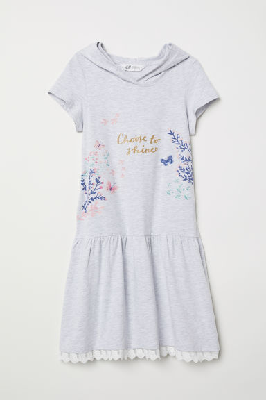 Jersey dress with a hood - Light grey/Choose To Shine -  | H&M CN