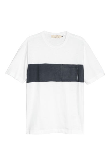 Block-patterned T-shirt - White -  | H&M