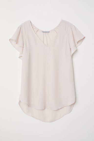 Shirt mit Volantärmeln - Puderrosa - Ladies | H&M AT