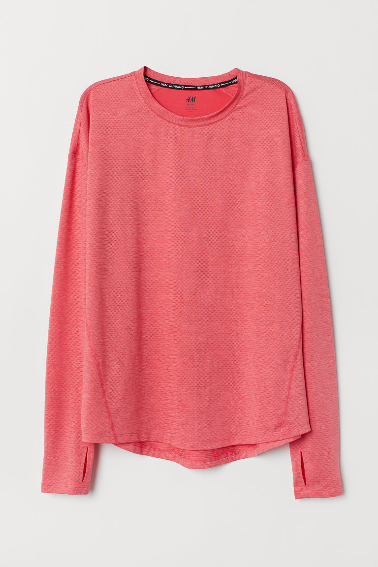 Long-sleeved sports top - Pink - Ladies | H&M
