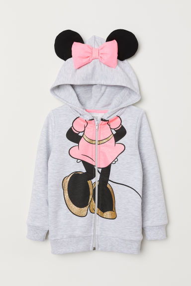 Hooded jacket with appliqués - Light grey marl/Minnie Mouse - Kids | H&M