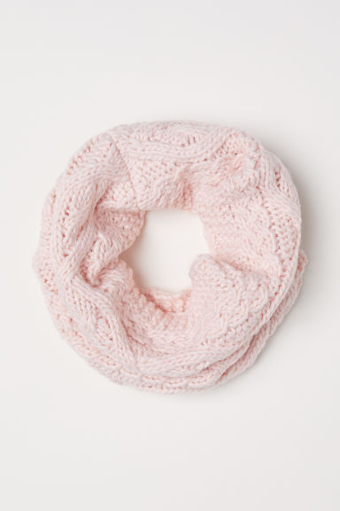 Cable-knit tube scarf - Light pink - Kids | H&M