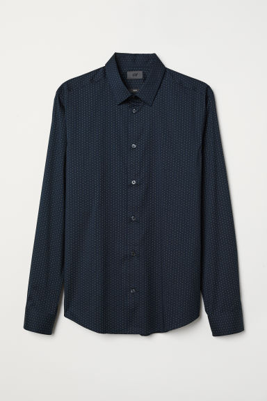Stretch shirt Slim Fit - Dark blue/Spotted - Men | H&M CN