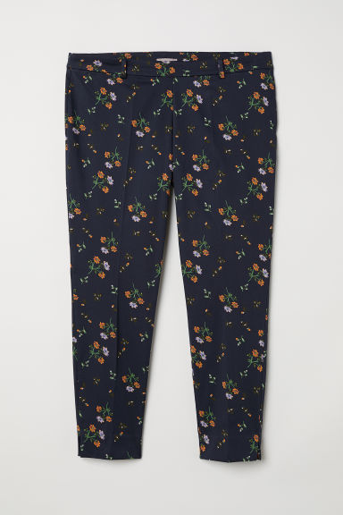 H&M+ Tailored trousers - Dark blue/Floral - Ladies | H&M