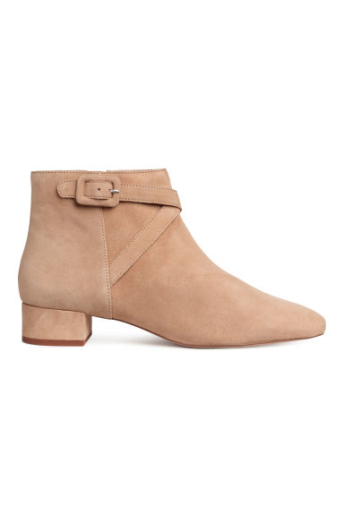 Suede ankle boots - Beige -  | H&M