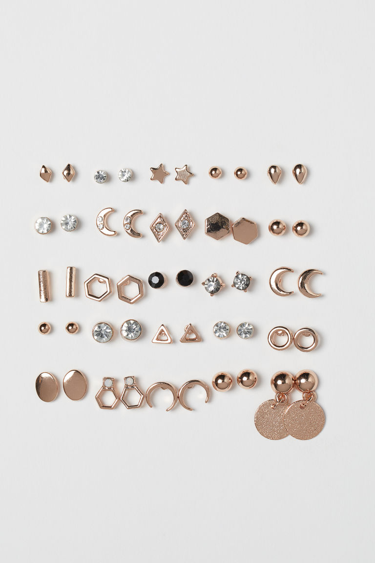 25 pairs stud earrings - Rose gold-coloured - Ladies | H&M GB