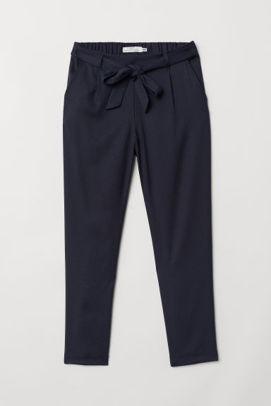 Trousers with a tie belt - Dark blue - Ladies | H&M