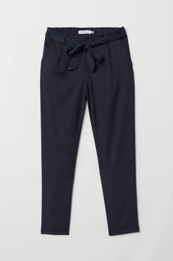 f1ca28771fdf Pants with Tie Belt - Dark blue - Ladies | H&M ...