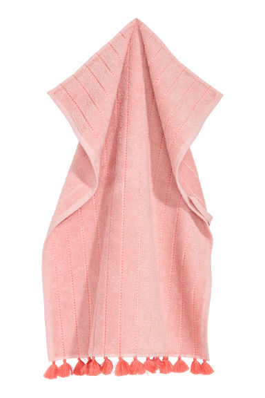 Tasselled hand towel - Light pink -  | H&M CN