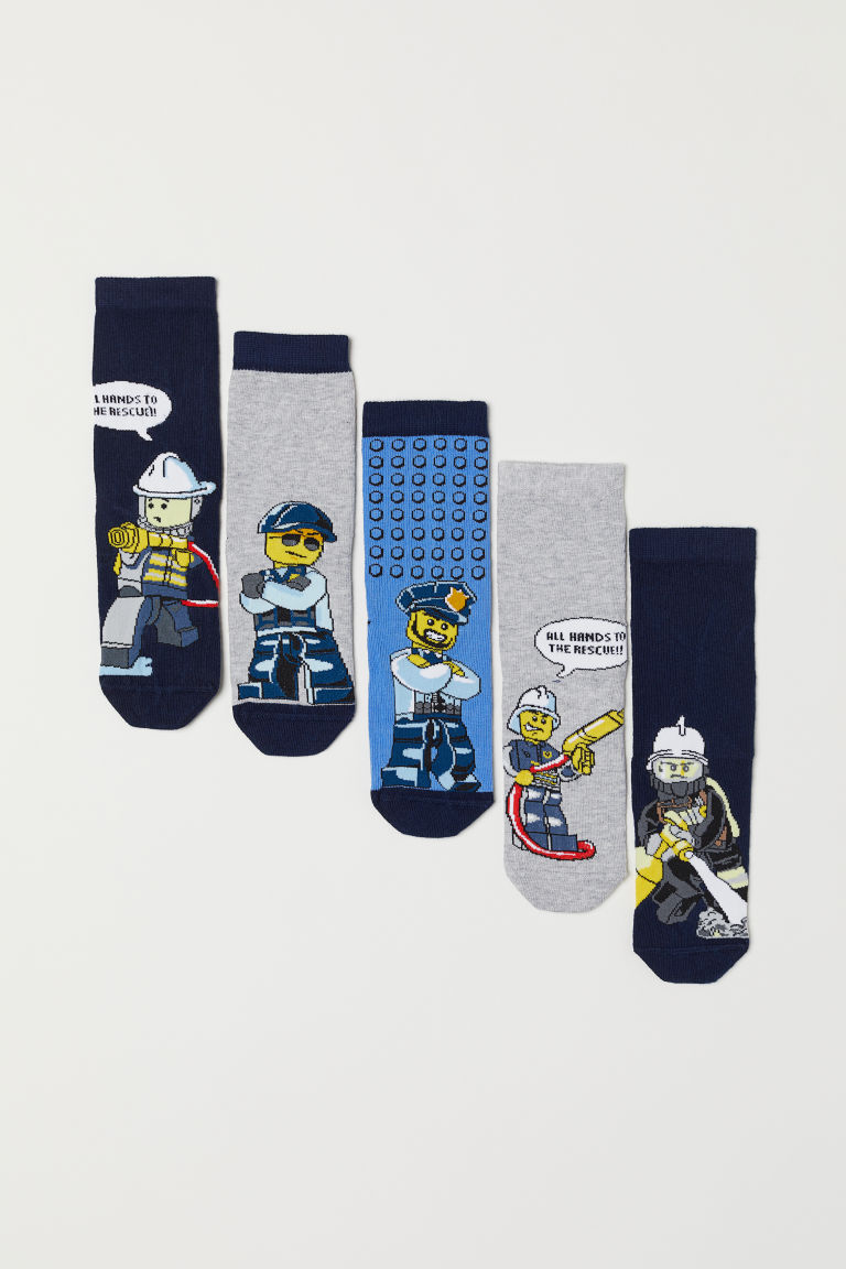 5-pack socks - Grey marl/Lego City - Kids | H&M CN