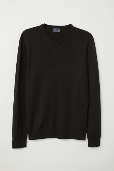 V-neck merino wool jumper - Black - Men | H&M IE