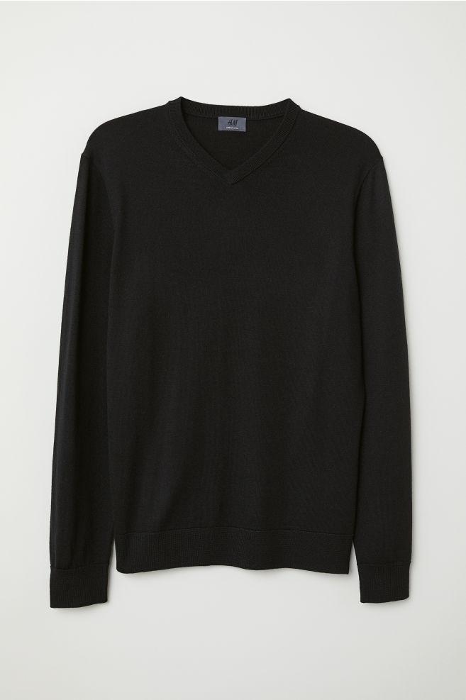 271cb7a4751dcc V-neck Merino Wool Sweater - Black - Men | H&M ...