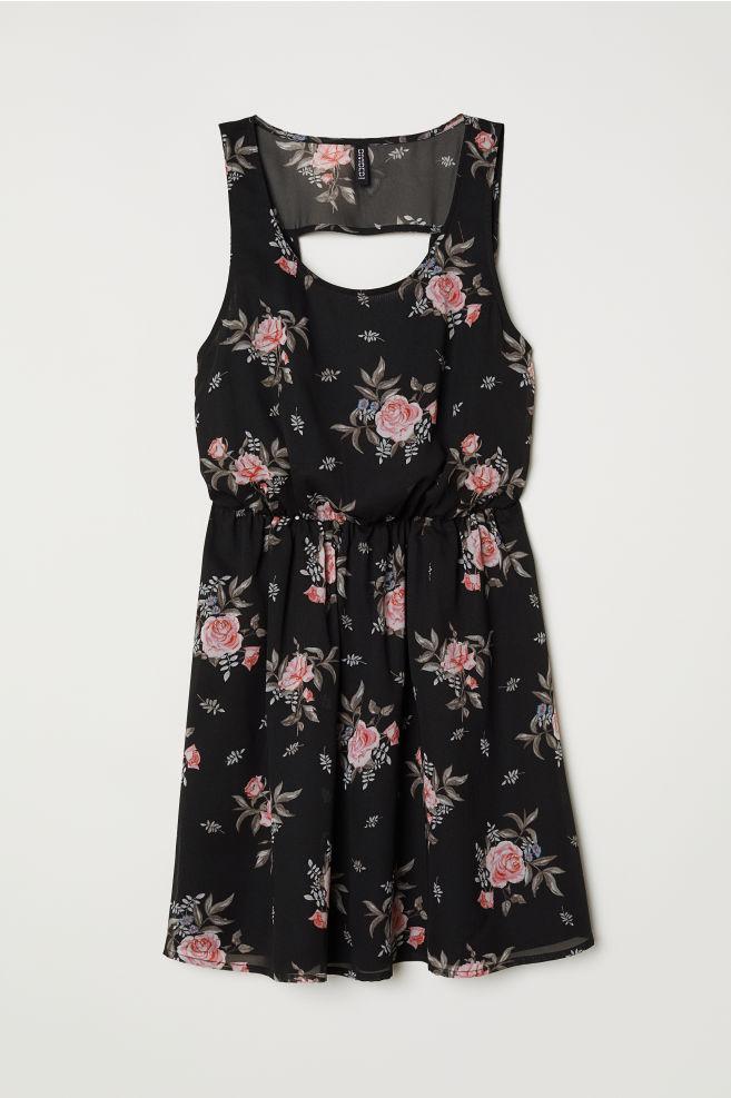 f6c790b48e87 Short chiffon dress - Black/Floral - | H&M ...