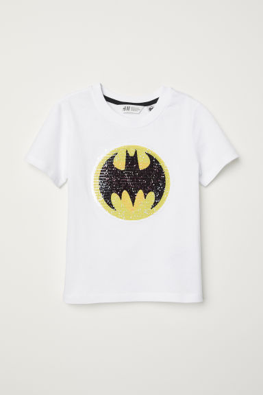 Reversible sequin T-shirt - White/Batman - Kids | H&M