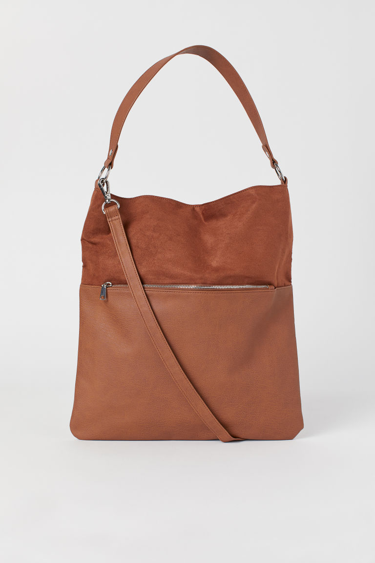 Shopper with a shoulder strap - Brown -  | H&M