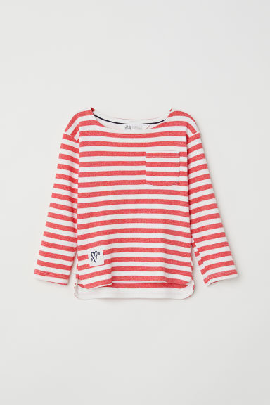 Striped jersey top - Red/White striped - Kids | H&M